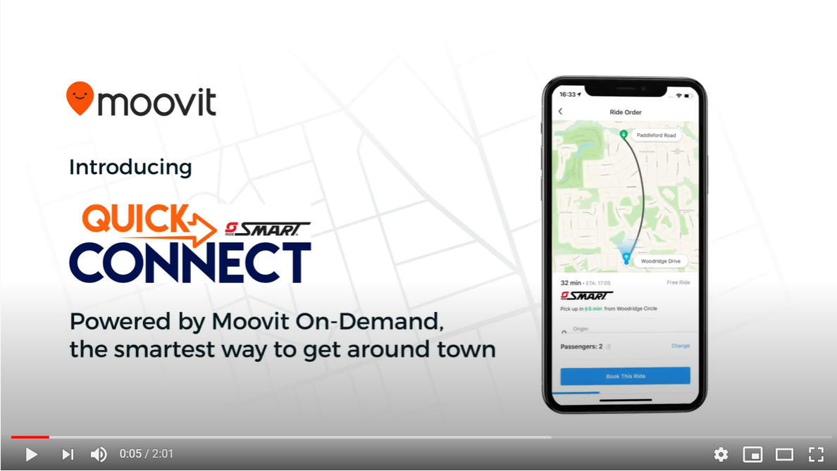 image depicts a youtube screen shot and reads Move it: Introducing Quick Connect by SMART. Powered by Move it on demand, the smartest way to get around town.